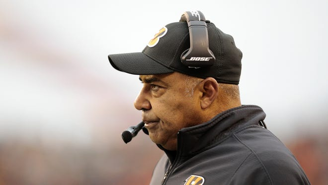 Cincinnati Bengals head coach Marvin Lewis watches from the sideline in the fourth quarter of the NFL Week 15 game between the Cincinnati Bengals and the Pittsburgh Steelers at Paul Brown Stadium in downtown Cincinnati on Sunday, Dec. 18, 2016. The Bengals gave up a 20-9 halftime lead to fall to the Steelers 24-20.