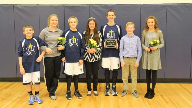 2016 John Paul II Catholic School Homecoming Winners 2nd runner up Kramer Jenkins, Jackson Willett, and Caleb Tripp 1st runner up Ainsley Beaven and Trayce Eckman 2016 Homecoming Queen and King Gretchen Greenwell and Garren Duckworth