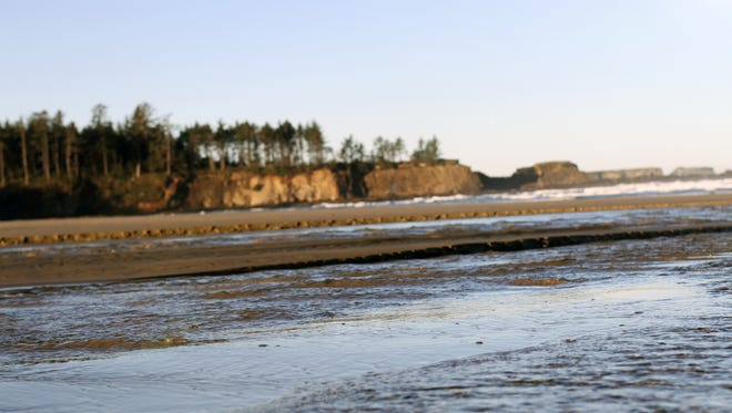 A man died after apparently falling off these cliffs at Bastendorff Beach near Coos Bay.
