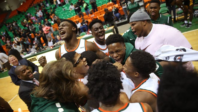 FAMU celebrates their last-second victory against Coppin State during their game at the Al Lawson Center on Saturday, Jan. 7, 2017.