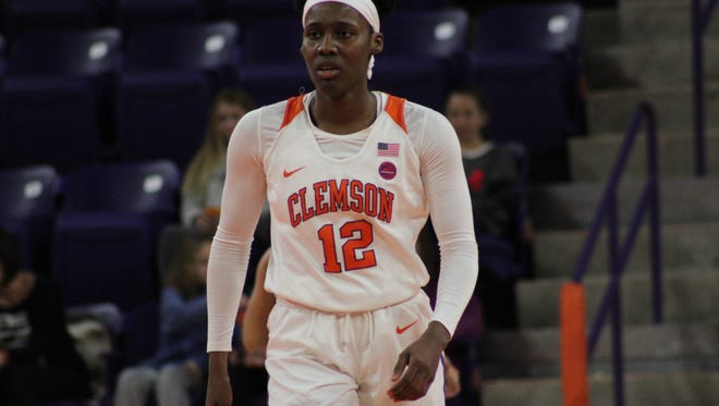 Clemson sophomore Aliyah Collier (12) during Sunday's women's basketball game vs. Virginia Tech.