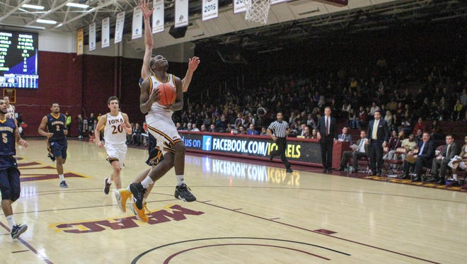 Iona's Schadrac Casimir goes for a layup during an NCAA basketball game against Canisius College at Hynes Athletic Center in New Rochelle, N.Y. on Jan. 8, 2016. Iona won 98-75.
