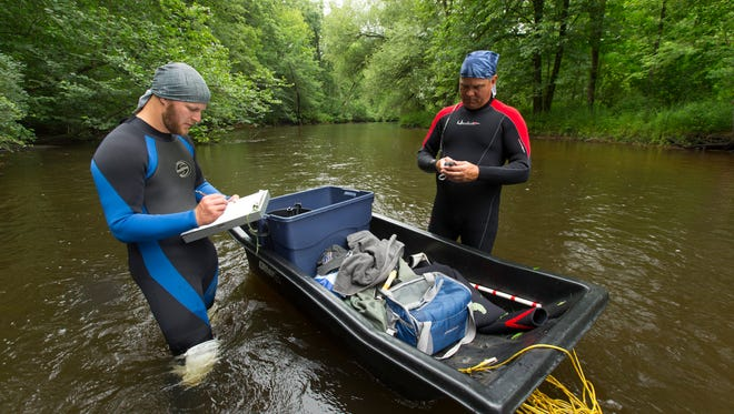 DNR staff conduct a survey for mussels in the Plover River nears Stevens Point. A legislator wants to split the agency's wildlife and environmental functions.