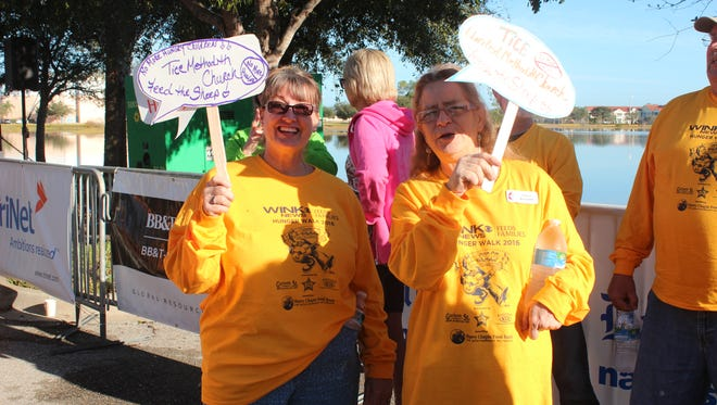 Mary Phister, left, and Nancy Burnham participated in a recent Hunger Walk as part of the Tice United Methodist Church team.