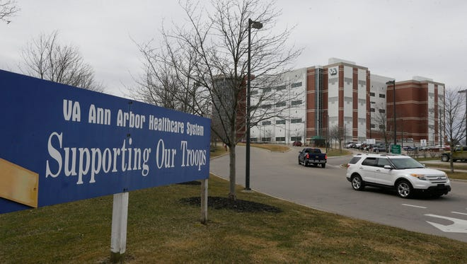 This April 3, 2015 photo shows the VA Ann Arbor Healthcare System in Ann Arbor, Mich. In an analysis of six months of appointment data at 940 VA hospitals and clinics nationwide from September 2014 to February 2015, at the VA hospital in Ann Arbor, an average of 3.4 percent of appointments took more than 30 days to complete between September and February, but that percentage was down to 2.4 percent in that last month. That's better than the national average of 2.8 percent.
