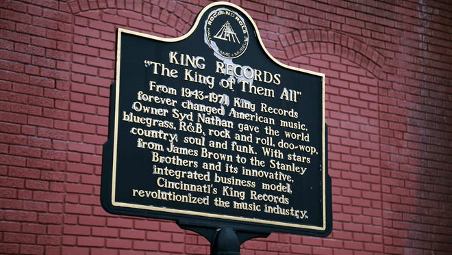 A historical marker from the Rock and Roll Hall of Fame at the former King Records complex in the Evanston neighborhood of Cincinnati on Wednesday, Jan. 18, 2017. At its peak, the racially integrated label employed more than 400 people and was the nation's sixth-largest record company.