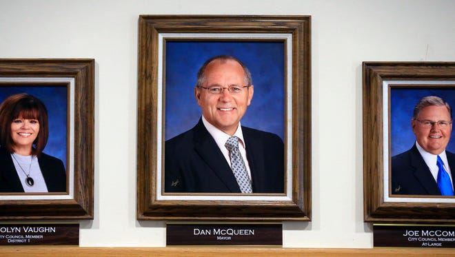 A portrait of Dan McQueen is located at City Hall on Wednesday, Jan. 18, 2017, in Corpus Christi.