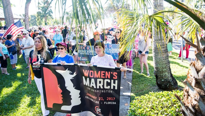 The Naples Women's March for Social Justice begins in downtown Naples on Saturday, Jan. 21, 2017.