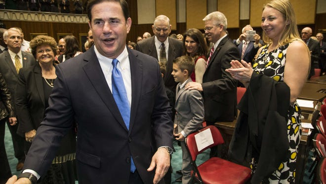 Gov. Doug Ducey was cheered by the State Legislature during the opening ceremony of the 53rd State of the State Address at the Capitol on Jan. 9, 2017.