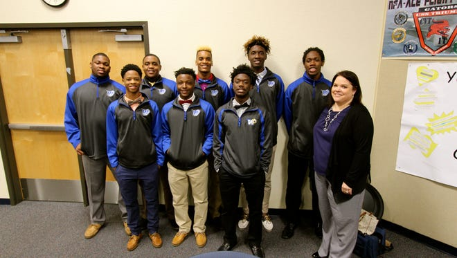 Members of the basketball team at Booker T. Washington High School attended the Mentor Appreciation Breakfast with their Mentor Coordinator Tara Rush. The boys travel once a week their neighboring elementary school, to serve as role models for Holm Elementary students. They enjoy this so much they have doubled the amount of time they spend with the Littles.
