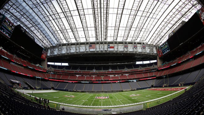 The field at NRG Stadium is prepared for the NFL Super Bowl 51 football game Tuesday, Jan. 31, 2017, in Houston. The New England Patriots will play the Atlanta Falcons in Super Bowl 51 Sunday, Feb. 5, 2017.