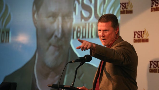 Quarterbacks Coach Randy Sanders speaks during FSU's National Signing Day event at the Tallahassee Antique Car Museum on Tuesday, Jan. 30, 2017.