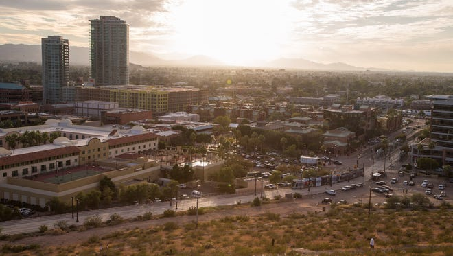 A view from A Mountain looking down upon Mill Avenue in Tempe.