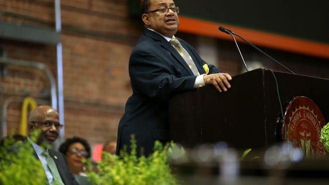 Keynote speaker Belvin Perry, Jr. addresses the crowd during the African-American History Month Convocation at the Gaither Gym on FAMU's campus Friday, Feb. 10, 2017.
