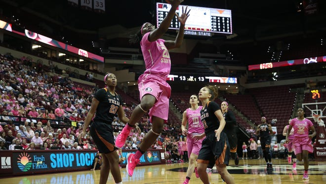 FSU's Shakayla Thomas drives in for a layup  against Texas during their game at the Tucker Civic Center on Monday, Feb. 13, 2017.