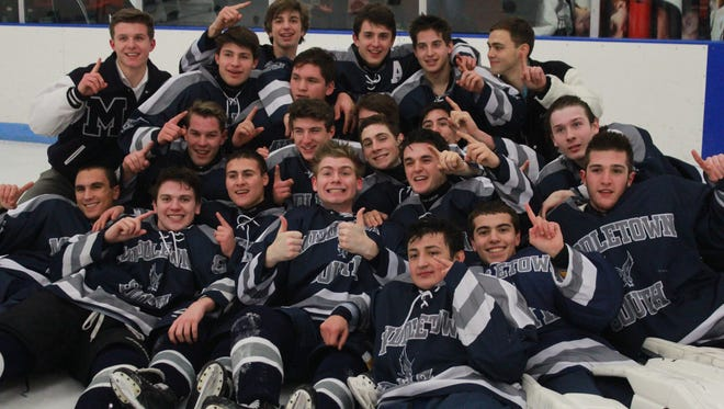 Middletown South celebrates 5-3 Mayor's Cup win over Middletown North on Monday at Middletown Ice World.