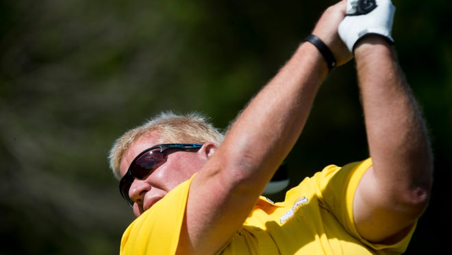 PGA Tour Pro John Daly tees off during the Chubb Classic Pro-Am at TwinEagles Club Wednesday, Feb. 15, 2017 in Naples.