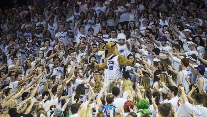 GCU fans gather around Thunder, their mascot, during a game against New Mexico State at GCU Arena on February 11, 2017 in Phoenix, Ariz.