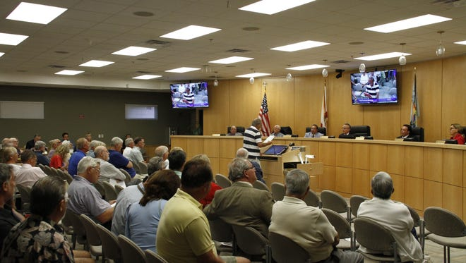 The Marco Island City Council listens to a resident in this file photo. Council's next meeting is 5:30 p.m. Monday in the community room, 51 Bald Eagle Drive.