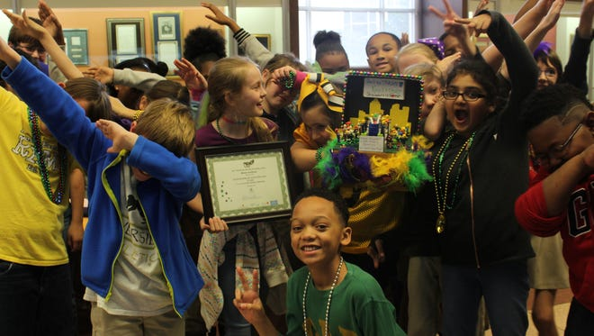 Students from Riverside Elementary's  fourth grade art class took first place in the 2017 Mardi Gras Shoe Box Float Decorating contest for the elementary school division.