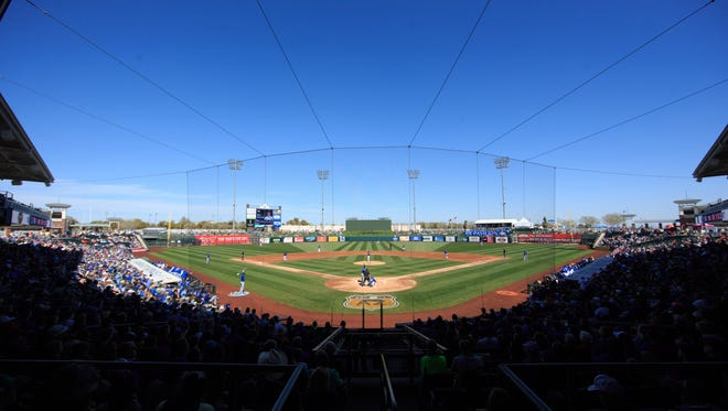 A view of Surprise Stadium, the spring training home for the Kansas City Royals and Texas Rangers.