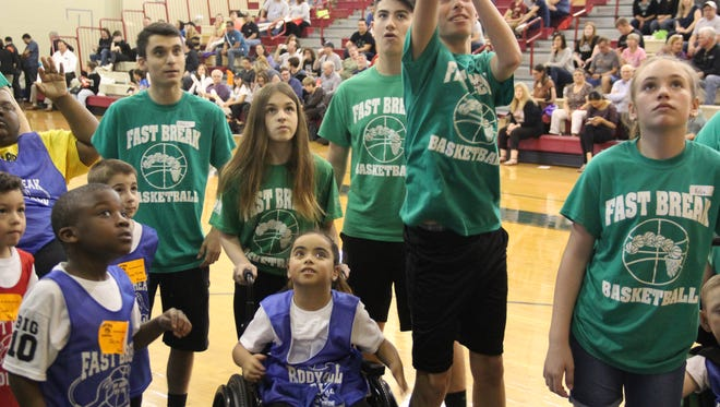 With a crowd of more 350 people cheering at Churchill Junior High School in East Brunswick, Fast Break Buddy Ball celebrated its 10th annual Big Game in 2016. The 2018 Big Game is scheduled for Feb. 24.