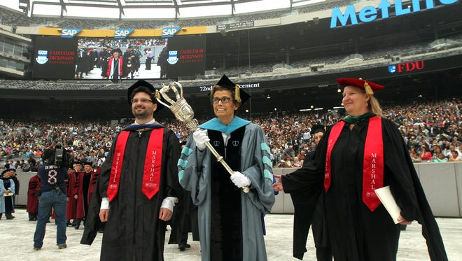 Grand Marshal Antoinette M. Anastasia leads the procession during the Fairleigh Dickinson University 72nd commencement at MetLife Stadium. May 19, 2015. East Rutherford, N.J. Bob Karp/Staff Photographer.