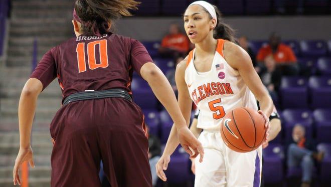 Clemson sophomore guard Danielle Edwards (5) is defended by Virginia Tech guard Kendyl Brooks (10) on Jan. 8.