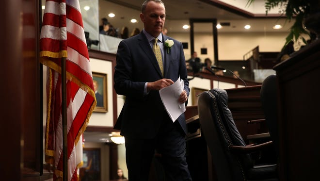 House Speaker Richard Corcoran finishes his address to legislators as they gather for the first day of session at the Capitol on Tuesday, March 7, 2017.