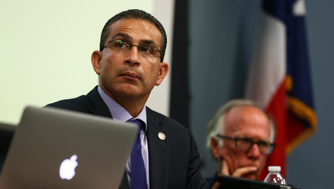 Committee on Criminal Jurisprudence chairman Abel Herrero, a state representative for Robstown, listens during the family violence interim charge hearing at Del Mar College's Center for Economic Development on Wednesday, Aug. 24, 2016.