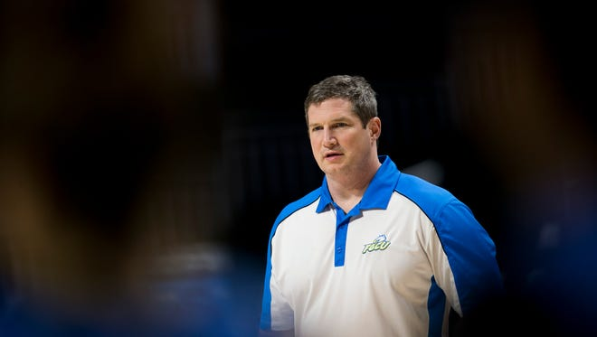 FGCU head coach Karl Smesko coaches during his teams practice at the Watsco Center Friday, March 17, 2017 in Coral Gables, Fla. FGCU takes on the University of Miami in the first round of the NCAA tournament Saturday.
