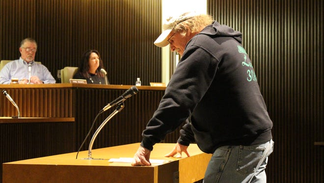 "Dan Mapes, president of Mansfield's AFSCME chapter, speaks before Mansfield City Council on Tuesday, March 21, 2017. Mapes asked council to oppose the Ohio House's House Bill 53, called the ""right-to-work"" bill."
