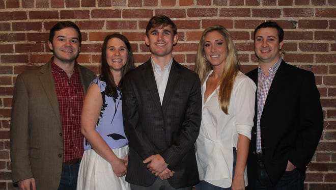 The steering committee for the new black-tie fundraiser The Iris Ball is made of young professionals in their 20s. From left to right are Drew Danieley, Meredith McKay, Miller Fitts, Terah Kimbrell and David Elliot. Not pictured: Haley Steinbuchel and Sam Gray.