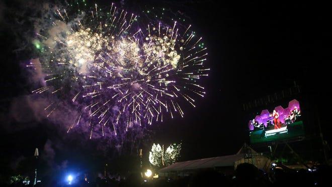 Fireworks close Fiesta de la Flor on Saturday, March 25, 2017, in Corpus Christi.