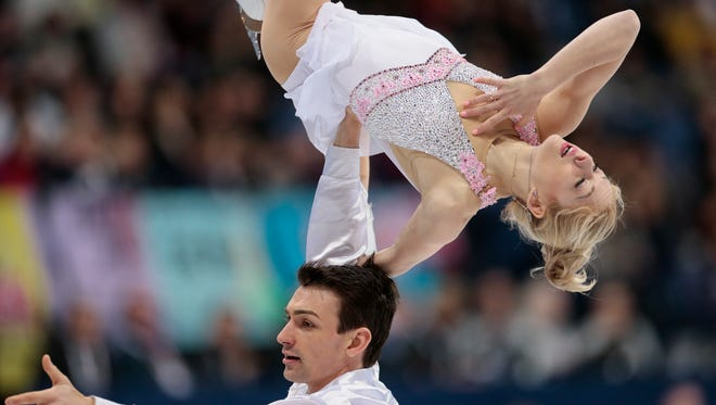 Alexa Scimeca Knierim and Chris Knierim, of the United States, skate their free program at the World figure skating championships in Helsinki, Finland, on March 30, 2017.