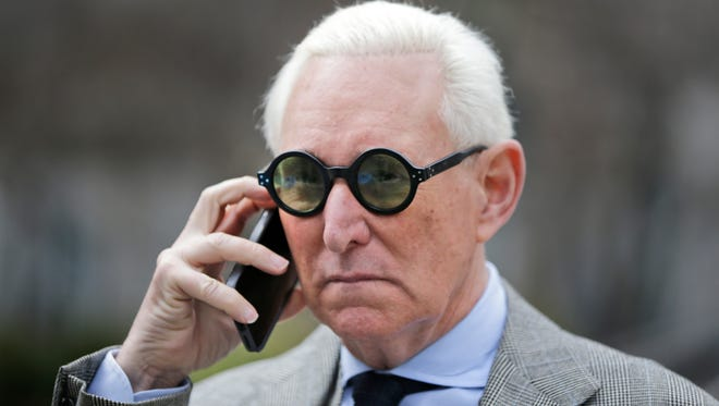 Roger Stone leaves court in New York, Thursday, March 30, 2017. (AP Photo/Seth Wenig)