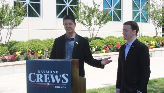 Louisiana House District 8 candidate Raymond Crews speaks after former opponent Patrick Harrington endorses him.