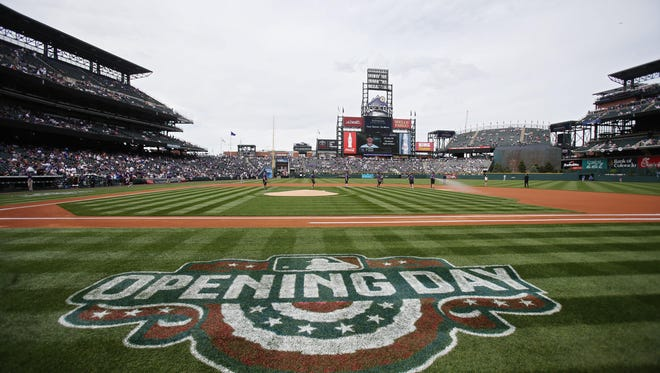 Apr 7, 2017; Denver, CO, USA; A general view of the opening day logo on the field before the game between the Colorado Rockies and the Los Angeles Dodgers at Coors Field. Mandatory Credit: Chris Humphreys-USA TODAY Sports