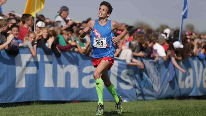 Second place 2016 boys individual Cross Country runner,  Gabe Fendel heads toward the finish line, during the IHSAA cross-country state finals, held in Terre Haute IN, at LaVern Gibson Championship Cross Country Course and Wabash Valley Sports Center, Saturday october 29th, 2016.
