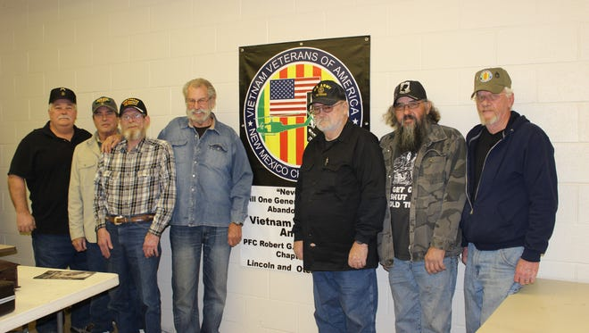 Pictured are members of Chapter 1062 of the Vietnam Veterans of America, from left; Doug Sabo, Chaplin; Randall Walker, Secretary/Treasurer; Tom Mcneil, Delegate; Jerry Ligon, President; Dan Dooley, Committee Chairman; Robert Sanchez, Vice President; and Harold Oakes, Delegate.