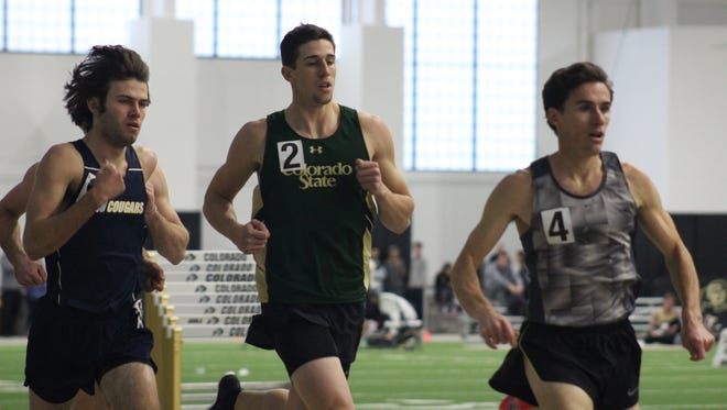 Hunter Price, shown competing at an indoor meet earlier this season, broke a 35-year-old CSU record in the decathlon Thursday at a meet in Azusa, Calif.