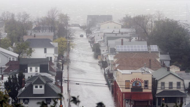 Streets in Highlands were inundated by flood waters after superstorm Sandy in October 2012.