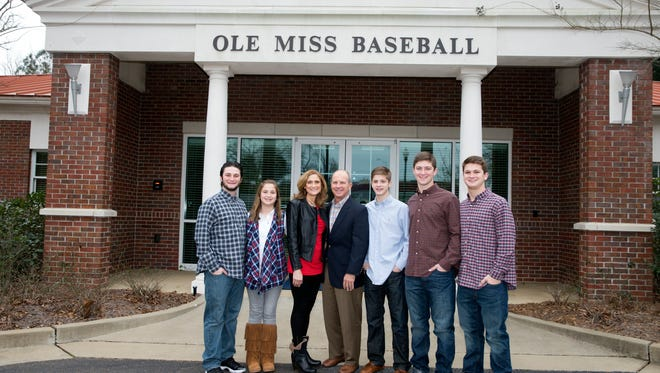 The Bianco family stands outside Ole Miss' baseball offices in Oxford.   (from left to right, Michael, Catherine, Camie, Mike, Sam, Ben and Drew)