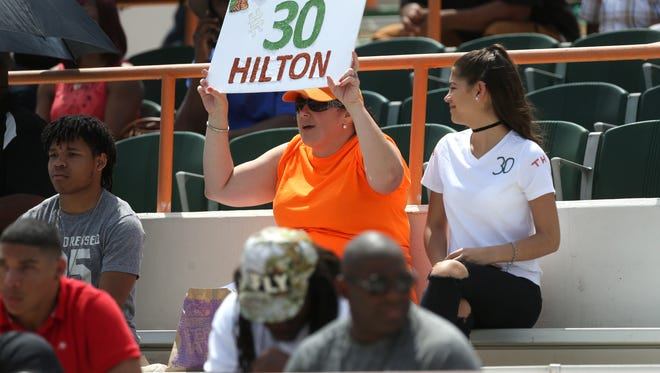 FAMU fans cheer on their team from the stands during their Orange and Green Spring game at Bragg Memorial Stadium on Saturday, April 15, 2017.