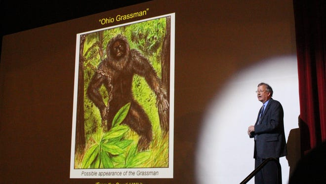 Mark Wilson, a geology and natural sciences professor at the College of Wooster, speaks about the possibility of Bigfoot's existence during a presentation at Loudonville's Ohio Theatre on Monday, April 17, 2017. Wilson said it's unlikely but not impossible Bigfoot exists.