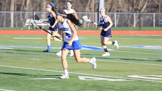 Hannah Schwartz (#4) is leading the offense for NV/Demarest with 35 goals this season.