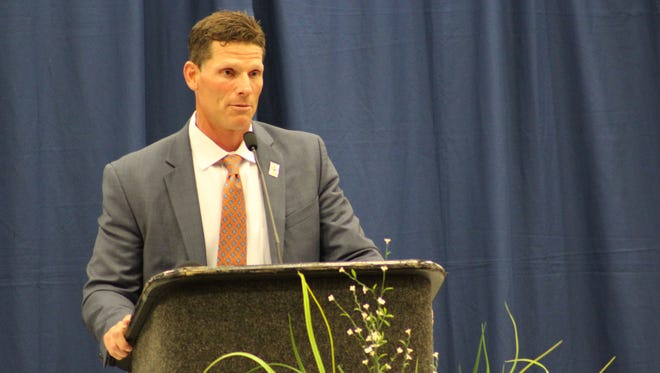 Clemson defensive coordinator Brent Venables speaks at the Anderson Area Touchdown Club banquet on Wednesday.