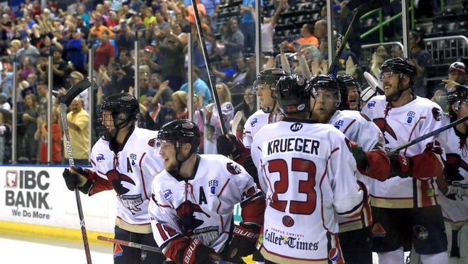 IceRays players celebrate after defeating Shreveport on Wednesday, April 19, 2017, at the American Bank Center in Corpus Christi.