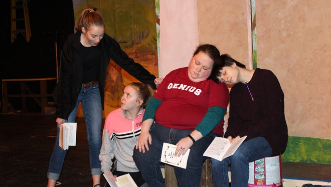 "Cast members rehearse a scene from the Cumberland Players production of the beloved fairy tale, ""The Golden Goose,"" which will be presented April 28 to 30 at the Little Theatre, 66 E. Sherman Ave., in Vineland."