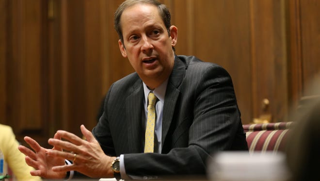 Senate President Joe Negron speaks with USA Today Network reporters at the Tallahassee Democrat office on April 21, 2017.